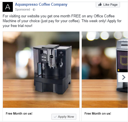 coffee facebook ad