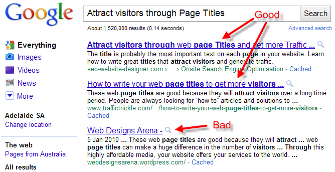 title optimisation WebSite Advantage