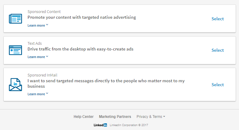 linkedin content options