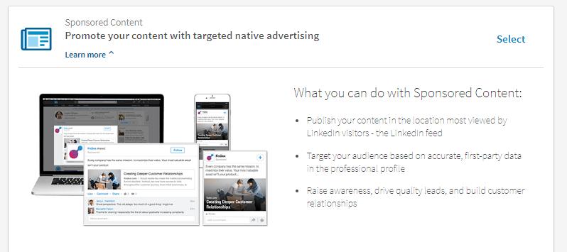 sponsored content linkedin